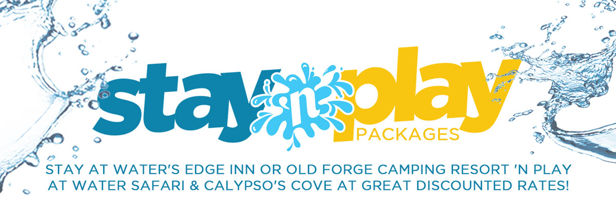 Stay 'n play packages discounted tickets to water safari and discounted lodging to water's edge inn, and old forge comping resort logo