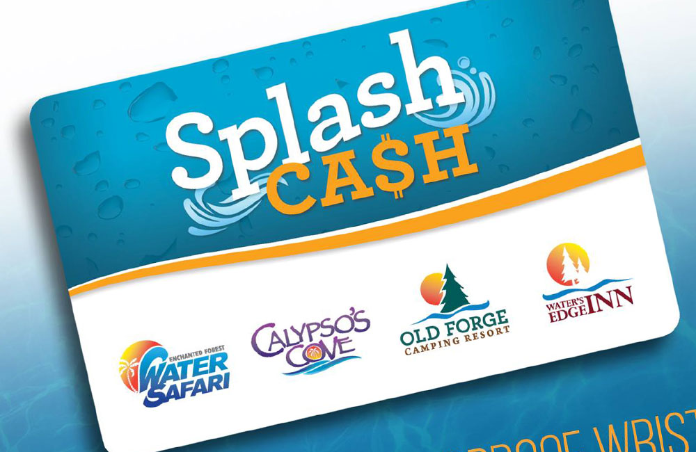 the splash card with water safari, calypso cove, old forge camping resort, and waters edge inn on the card