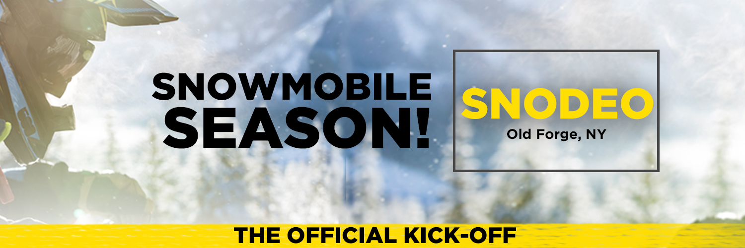 SNODEO banner. The background of the banner is of a person riding a snowmobile with snow covered trees in the background.