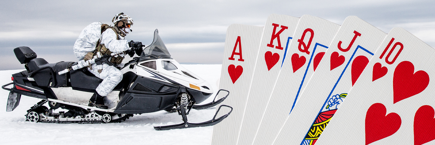 Poker Run banner. To the left of the banner is a picture of a person riding a snowmobile, while on the right is a deck of playing cards.