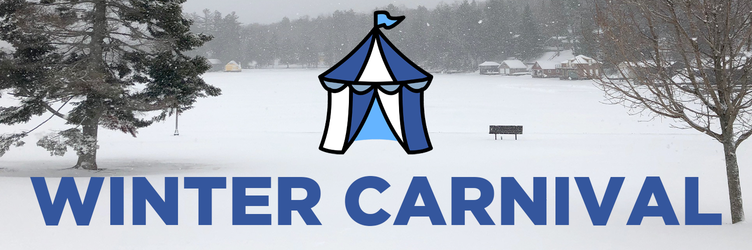 Winter Carnival banner. The text is in blue font. In the background is a picture of the lake during the winter season.