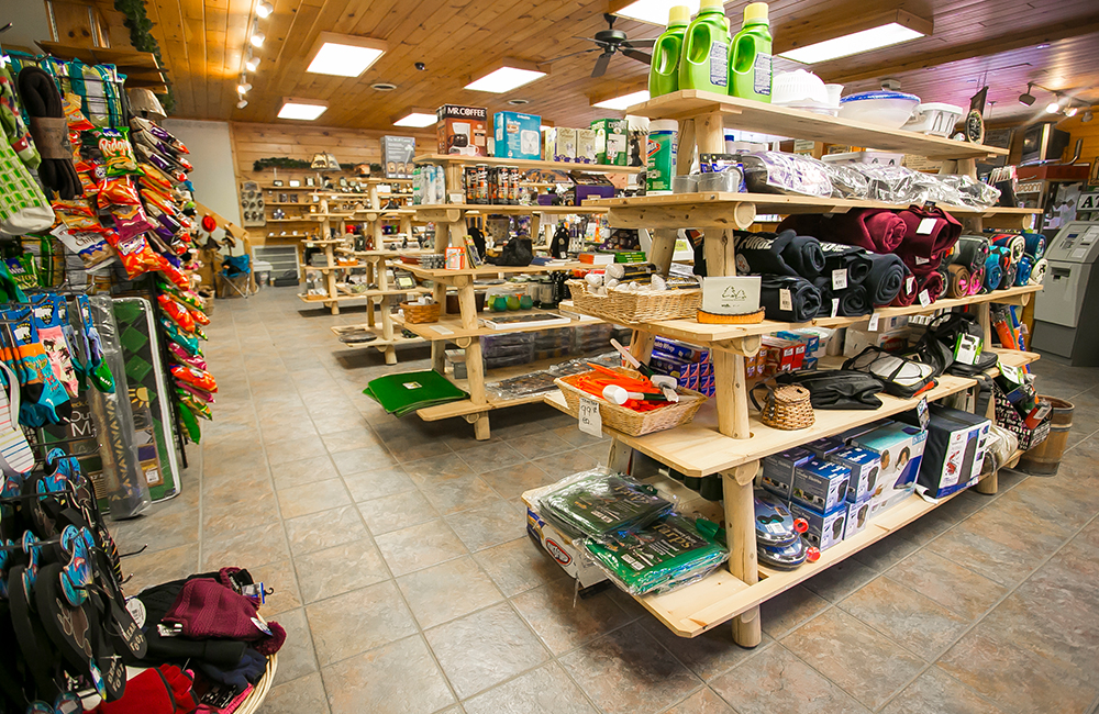 The inside of the gift shop at the Camping Resort. The gift shop has many different items for people to purchase.