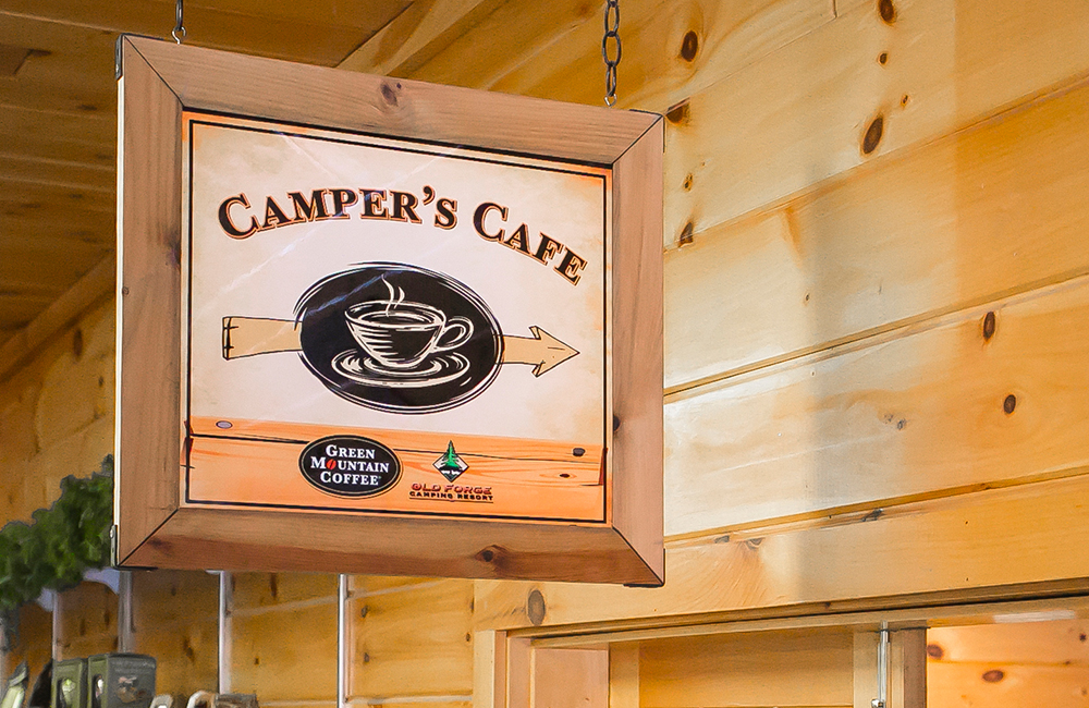 The Camper's Cafe located at the Old Forge Camping Resort.