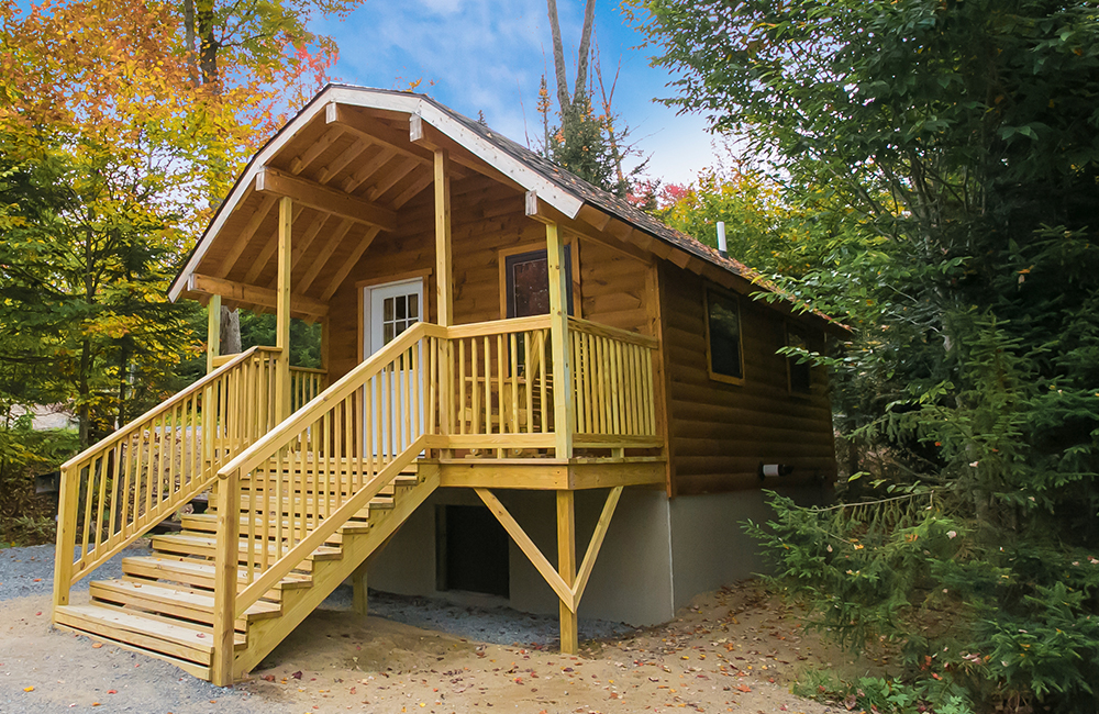 One of the cottage rentals available for guests to rent for their stay at Old Forge Camping Resort.