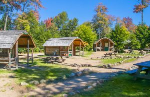 Some of the cabins that are available for guests to rent at the Old Forge Camping Resort.