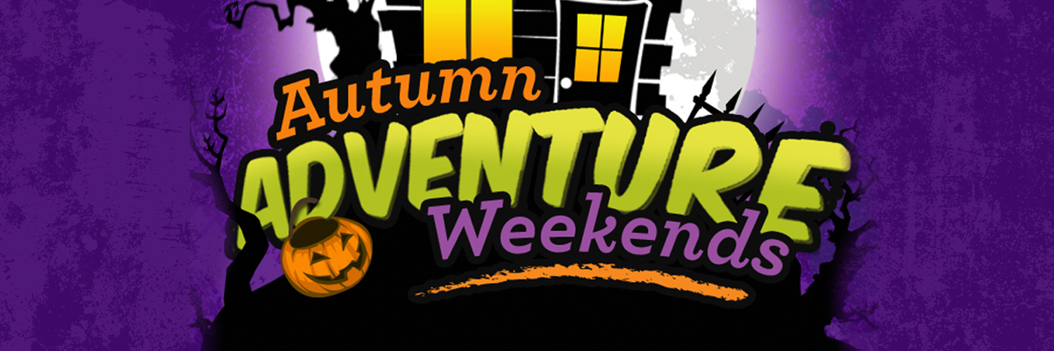 Autumn Adventure Weekends banner. The background of the banner is a Halloween scene.