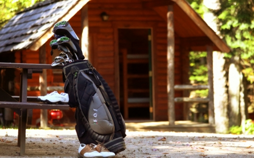 A bag of gold clubs leaning on a picnic table outside of a wooden cabin