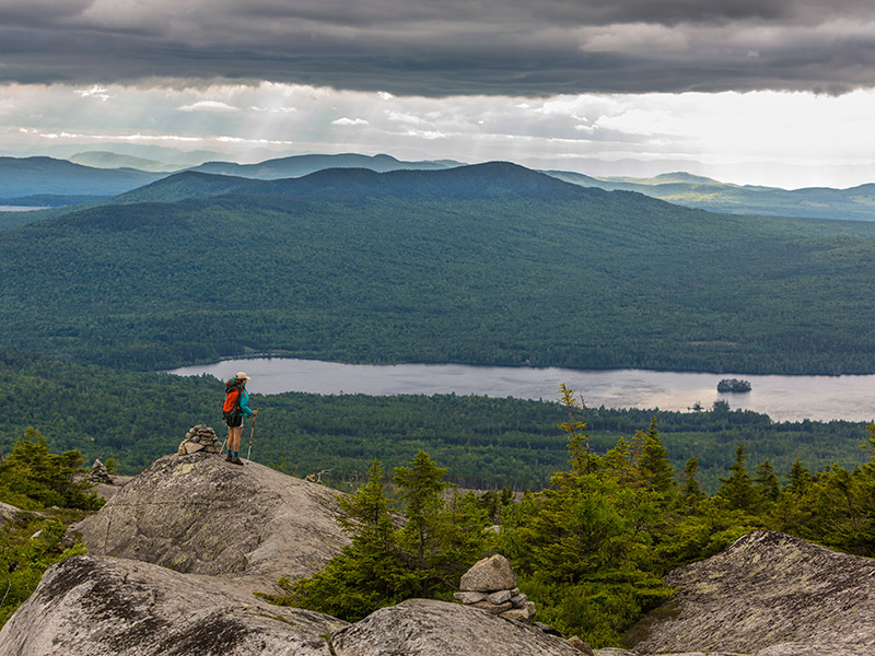 man on top of a mountain looking out at the trees lakes and the mountains in the distance