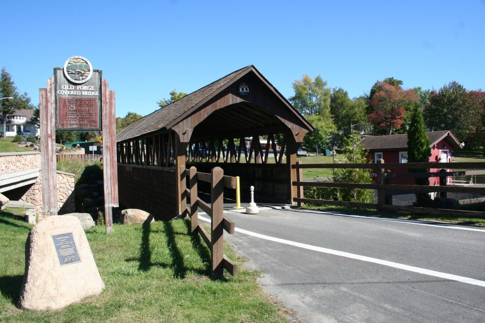A picture of the covered bridge in Old Forge on a gorgeous sunny day.