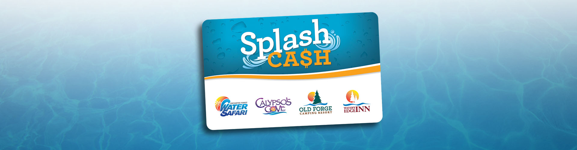 Splash Cash card with water background