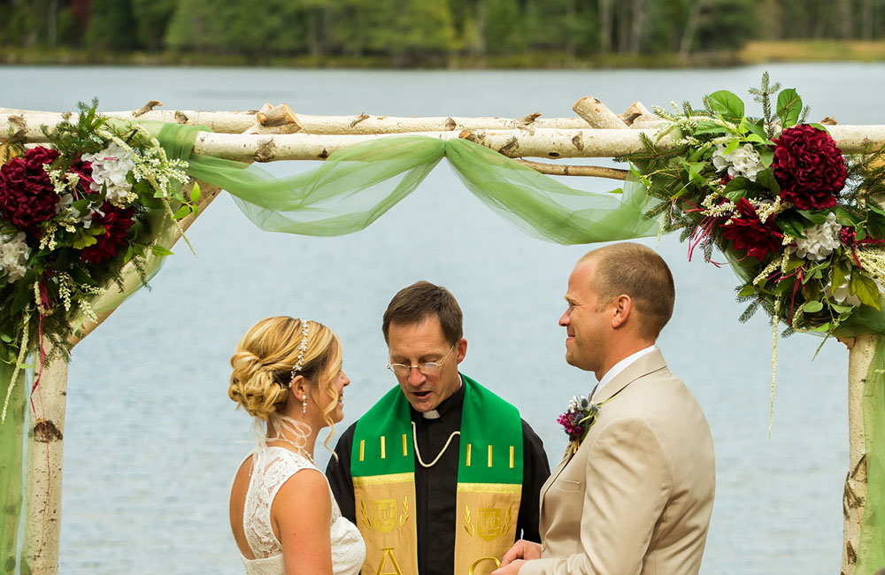 Wedding ceremony, flowers, lake,